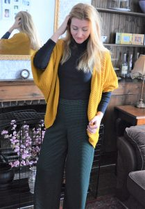 Mustard Cardigan and Green Check Trousers