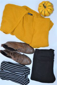 Mustard cardigan, stripes and boots
